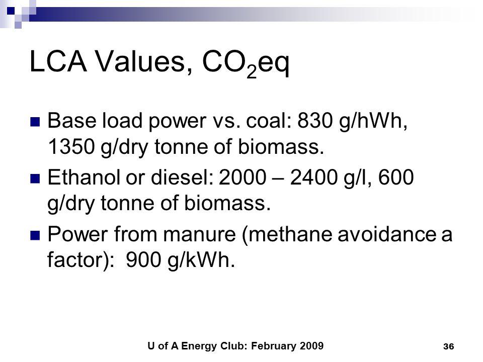 U of A Energy Club: February 2009 36 LCA Values, CO 2 eq Base load power vs.
