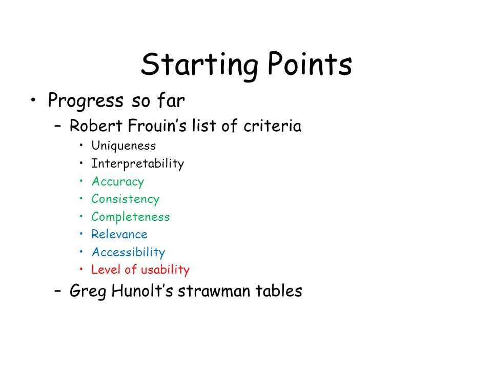 Starting Points Progress so far –Robert Frouin's list of criteria Uniqueness Interpretability Accuracy Consistency Completeness Relevance Accessibility Level of usability –Greg Hunolt's strawman tables