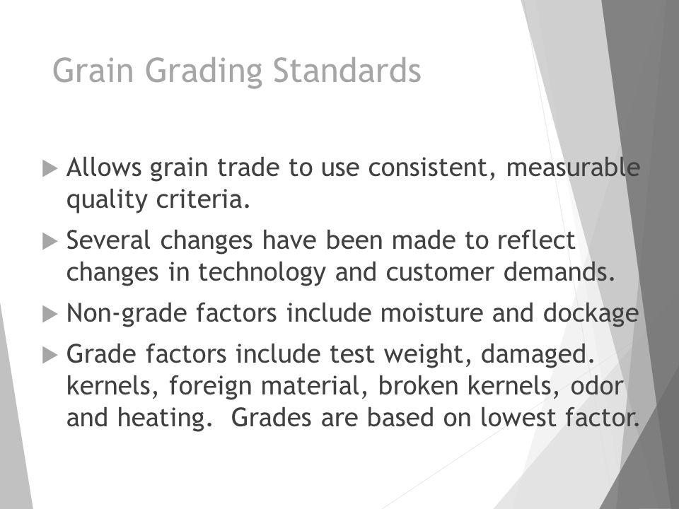 Grain Grading Standards  Allows grain trade to use consistent, measurable quality criteria.