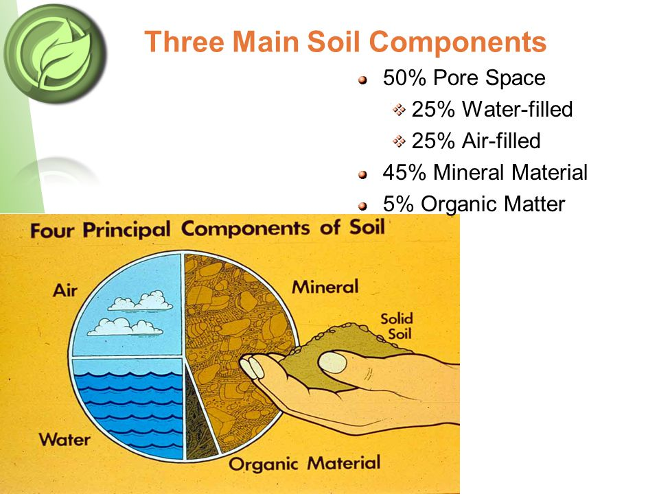 50% Pore Space 25% Water-filled 25% Air-filled 45% Mineral Material 5% Organic Matter Three Main Soil Components