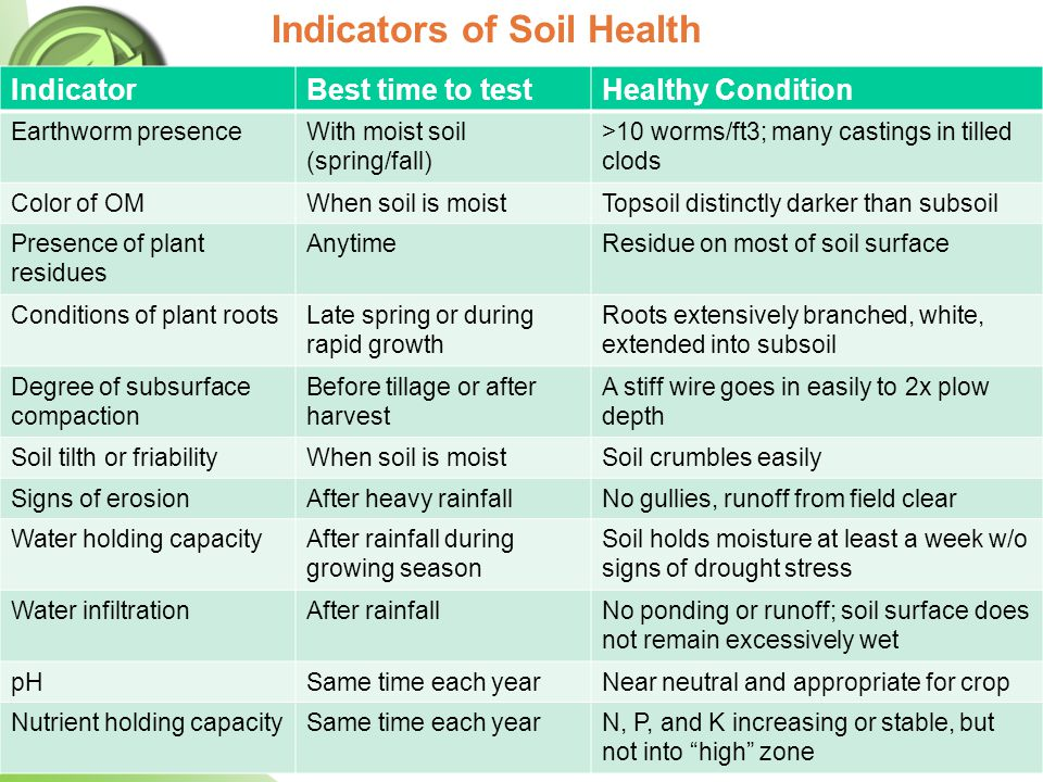 IndicatorBest time to testHealthy Condition Earthworm presenceWith moist soil (spring/fall) >10 worms/ft3; many castings in tilled clods Color of OMWh