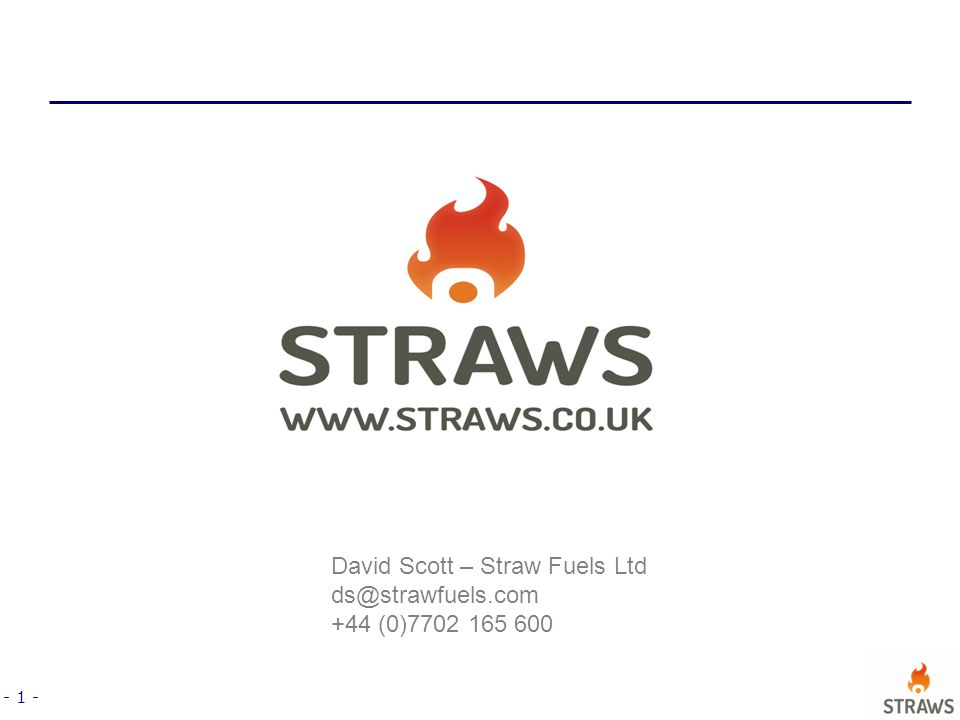 - 1 - David Scott – Straw Fuels Ltd ds@strawfuels.com +44 (0)7702 165 600