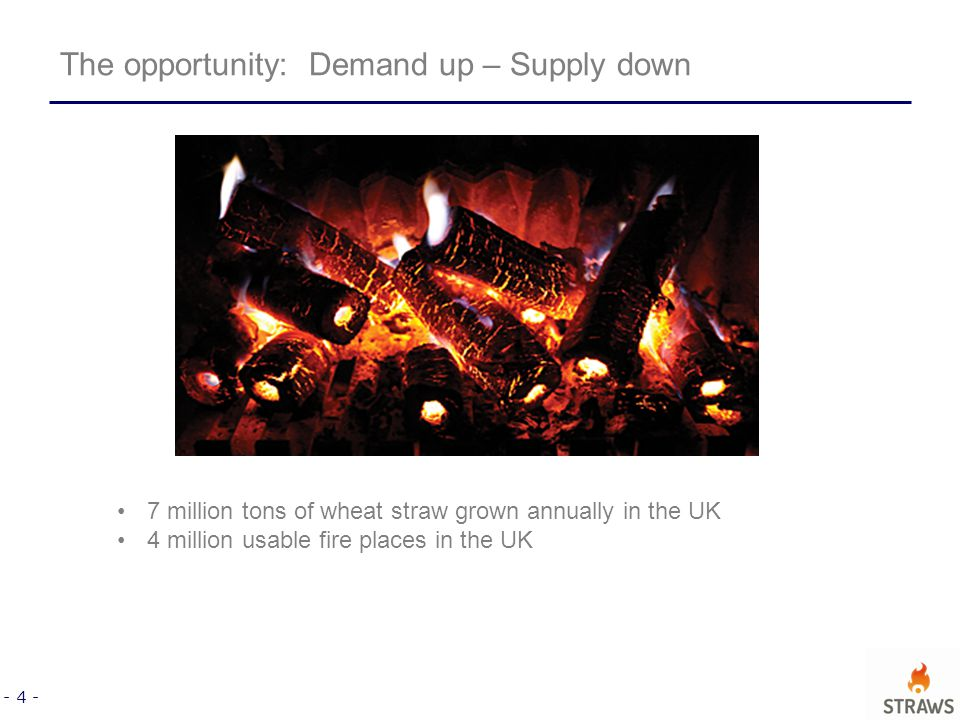 - 4 - 7 million tons of wheat straw grown annually in the UK 4 million usable fire places in the UK The opportunity: Demand up – Supply down