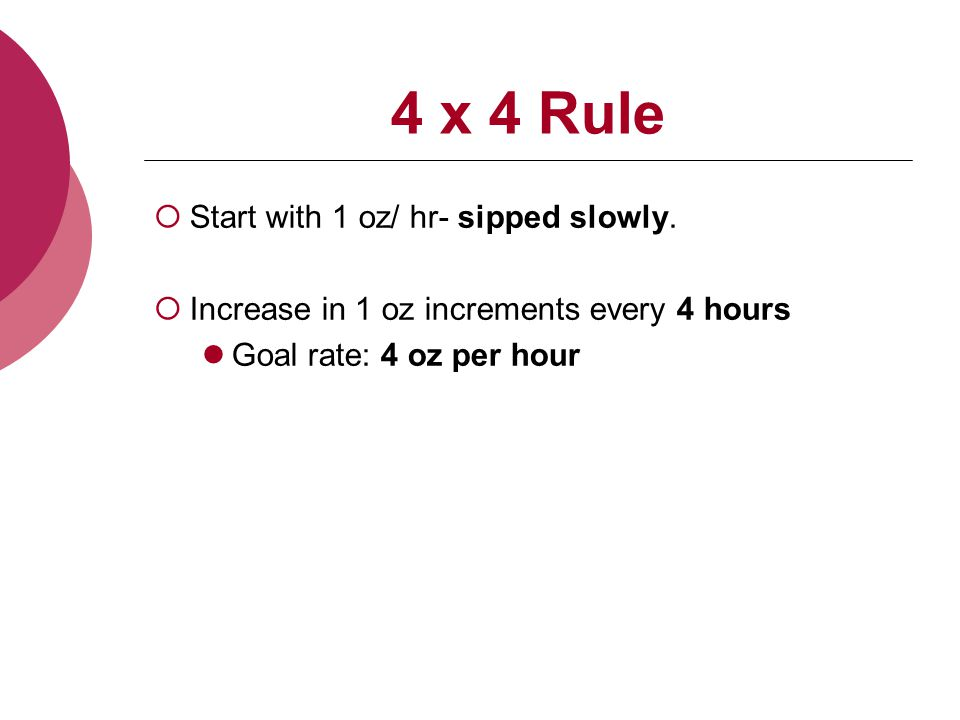 4 x 4 Rule  Start with 1 oz/ hr- sipped slowly.