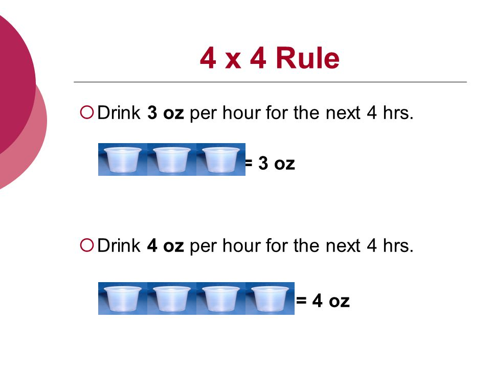 4 x 4 Rule  Drink 3 oz per hour for the next 4 hrs.