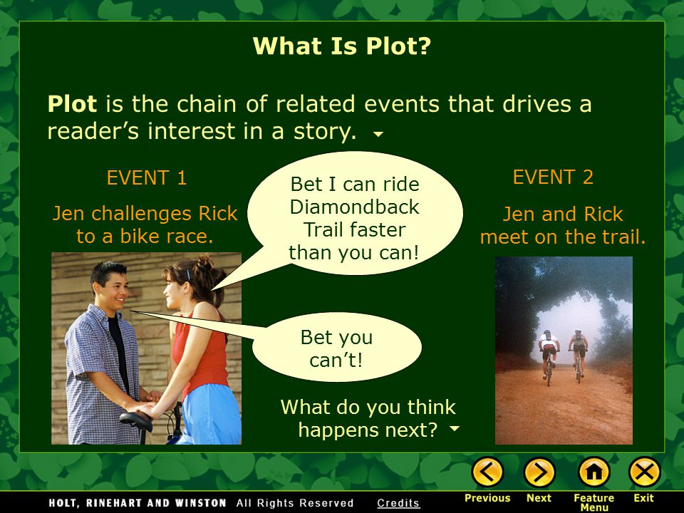 Plot is the chain of related events that drives a reader's interest in a story.