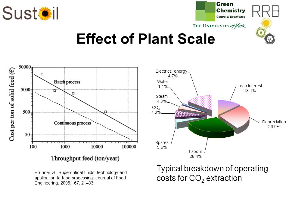 Effect of Plant Scale Brunner,G., Supercritical fluids: technology and application to food processing.