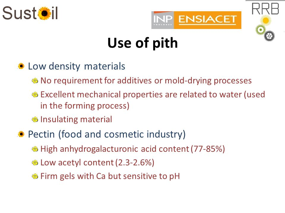 Use of pith Low density materials No requirement for additives or mold-drying processes Excellent mechanical properties are related to water (used in the forming process) Insulating material Pectin (food and cosmetic industry) High anhydrogalacturonic acid content (77-85%) Low acetyl content (2.3-2.6%) Firm gels with Ca but sensitive to pH