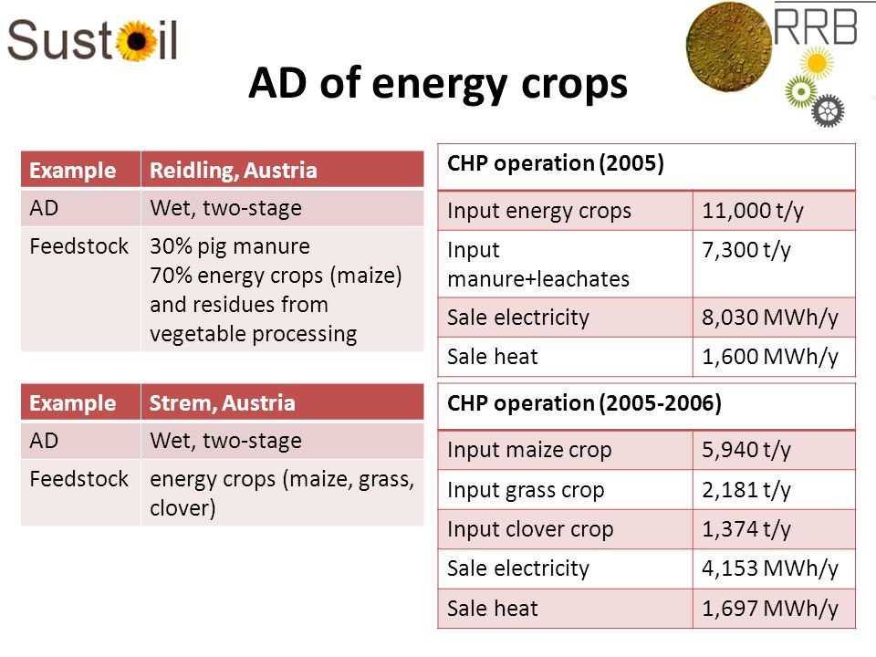 AD of energy crops ExampleReidling, Austria ADWet, two-stage Feedstock30% pig manure 70% energy crops (maize) and residues from vegetable processing CHP operation (2005) Input energy crops11,000 t/y Input manure+leachates 7,300 t/y Sale electricity8,030 MWh/y Sale heat1,600 MWh/y ExampleStrem, Austria ADWet, two-stage Feedstockenergy crops (maize, grass, clover) CHP operation (2005-2006) Input maize crop5,940 t/y Input grass crop2,181 t/y Input clover crop1,374 t/y Sale electricity4,153 MWh/y Sale heat1,697 MWh/y