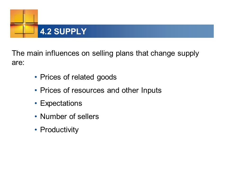 The main influences on selling plans that change supply are: Prices of related goods Prices of resources and other Inputs Expectations Number of sellers Productivity