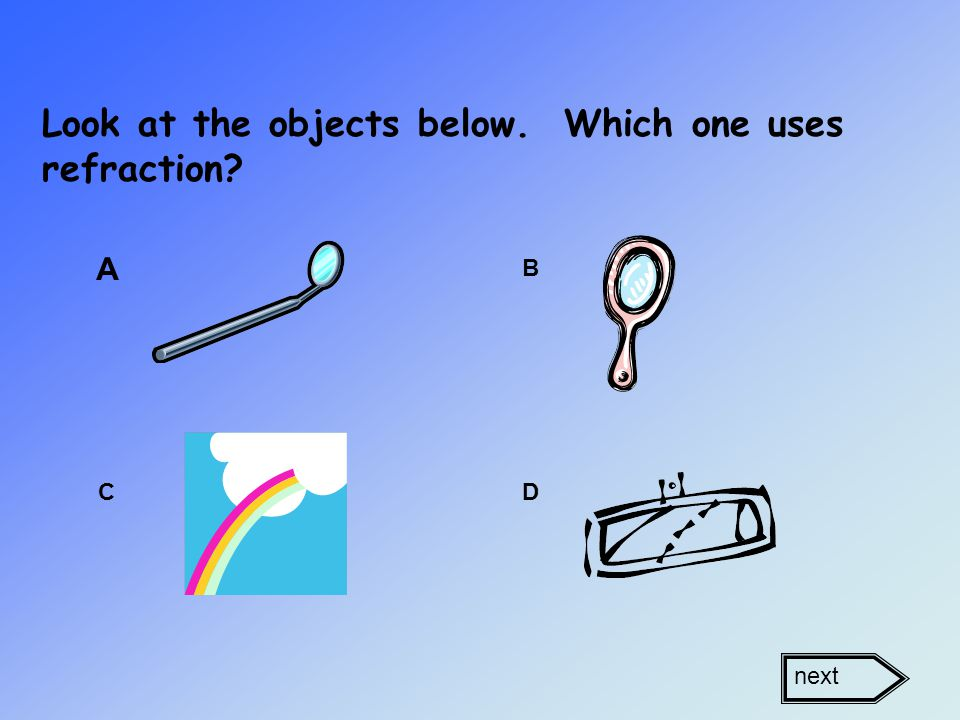 Look at the objects below. Which one uses refraction A B CD next