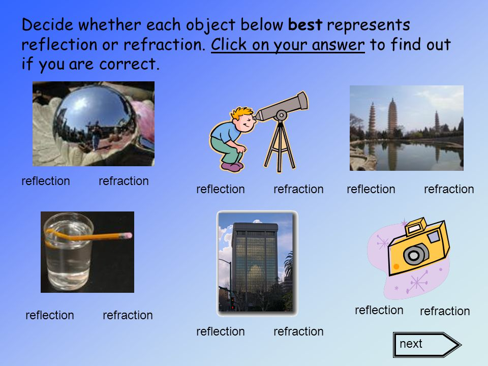 These answers are not correct because: A – Prism –light is being refracted as it passes through the prism B - Rose Quartz – the surface of this rock is too rough to reflect light D -Paper – since paper is opaque, light would not bounce off or be refracted.