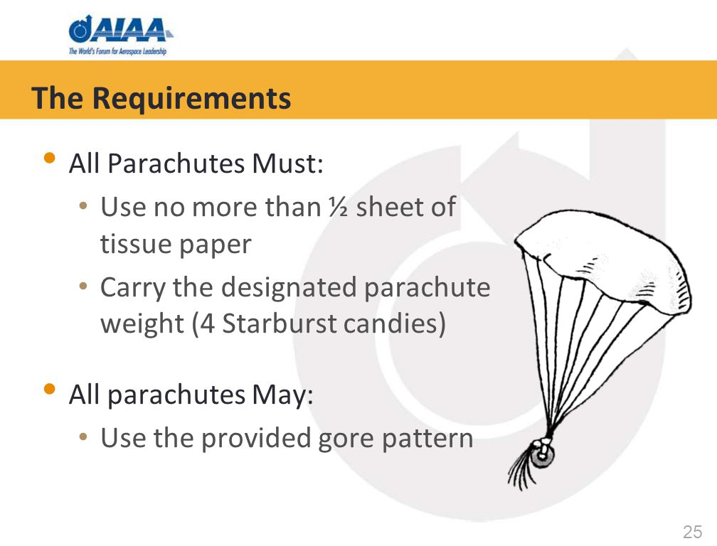 25 The Requirements All Parachutes Must: Use no more than ½ sheet of tissue paper Carry the designated parachute weight (4 Starburst candies) All para