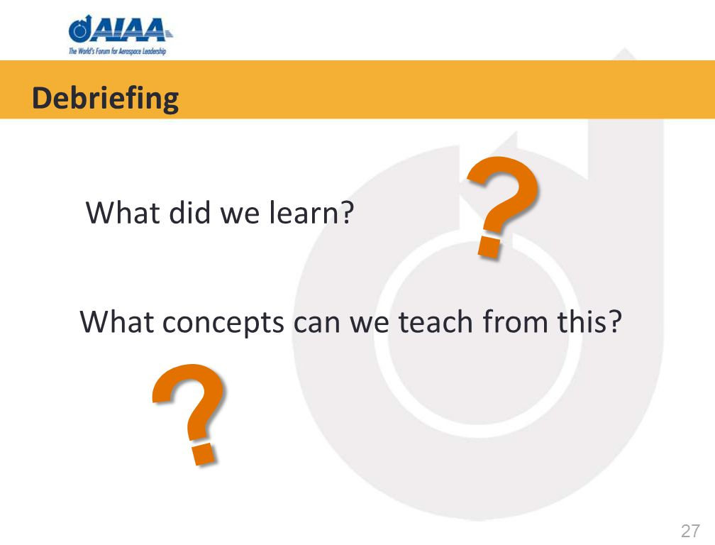 27 Debriefing What did we learn? What concepts can we teach from this? ? ?