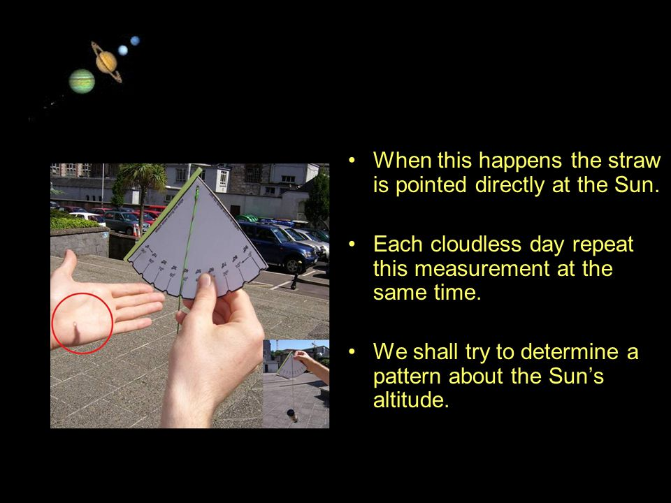 11/15/99Norm Herr (sample file) When this happens the straw is pointed directly at the Sun.