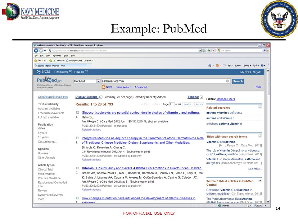 Example: PubMed FOR OFFICIAL USE ONLY 14