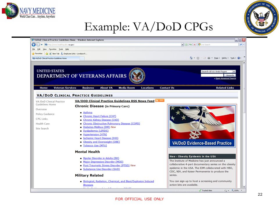 Example: VA/DoD CPGs FOR OFFICIAL USE ONLY 22
