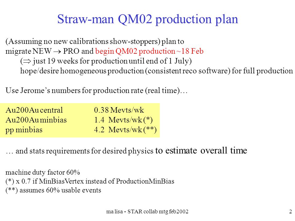 ma lisa - STAR collab mtg feb20022 Straw-man QM02 production plan (Assuming no new calibrations show-stoppers) plan to migrate NEW  PRO and begin QM0