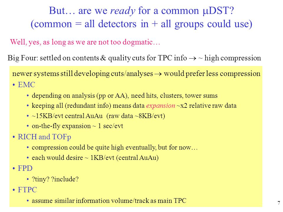 ma lisa - STAR collab mtg feb20028 A possible common  DST Sum of:kB/evt (central AuAu) present HBT  DST (tracks, V0s kinks…) 80 EMC expanded info 15 (when present!) TOFp 1 RICH 1 FTPC pessimistic (?)100 Total ~200 This still represents a compression x 1/9 relative to STAR DST, (and it would be faster) This would reside on production space (11 TB) not PWG space (DSTs not disk-resident)  space for multiple versions (think ahead…)
