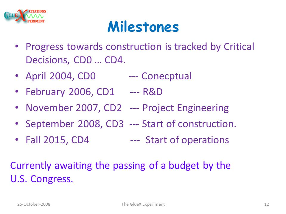Milestones Progress towards construction is tracked by Critical Decisions, CD0 … CD4.