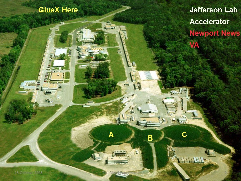 GlueX Here A B C Jefferson Lab Accelerator Newport News VA 25-October-20089The GlueX Experiment