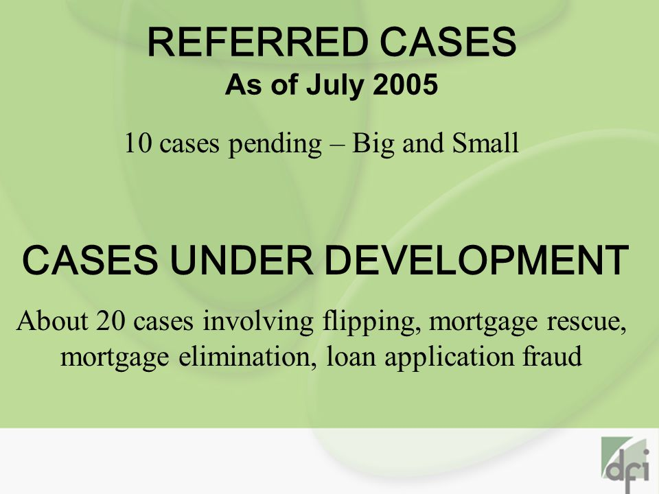 REFERRED CASES As of July 2005 10 cases pending – Big and Small CASES UNDER DEVELOPMENT About 20 cases involving flipping, mortgage rescue, mortgage elimination, loan application fraud