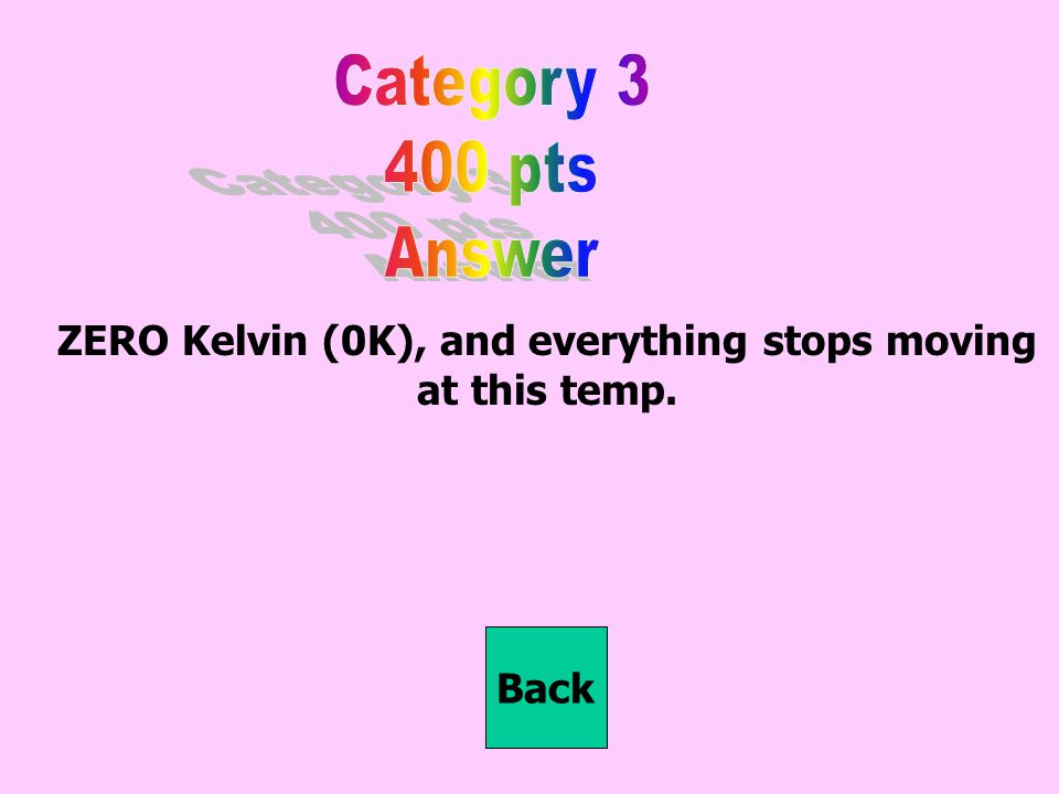 ZERO Kelvin (0K), and everything stops moving at this temp. Back