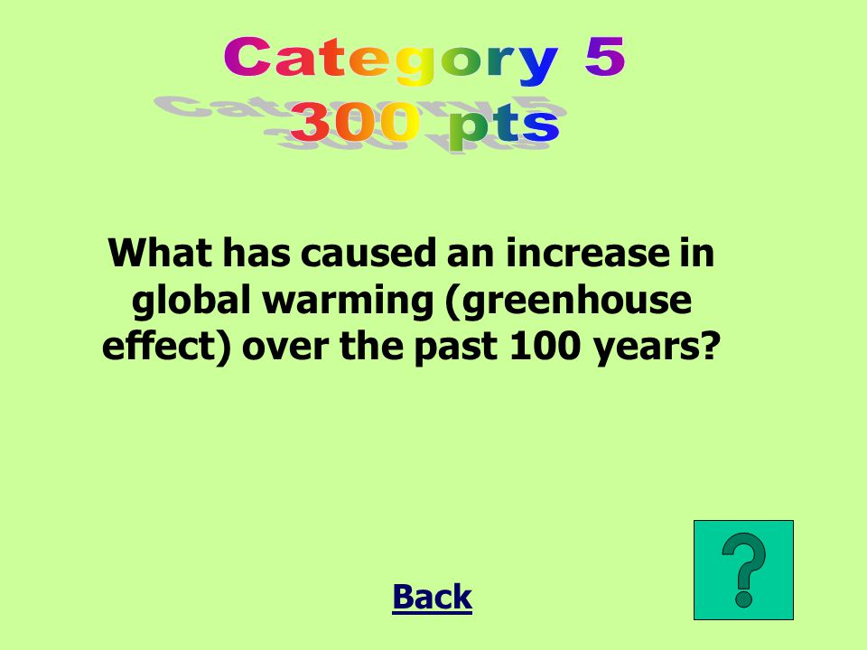 What has caused an increase in global warming (greenhouse effect) over the past 100 years