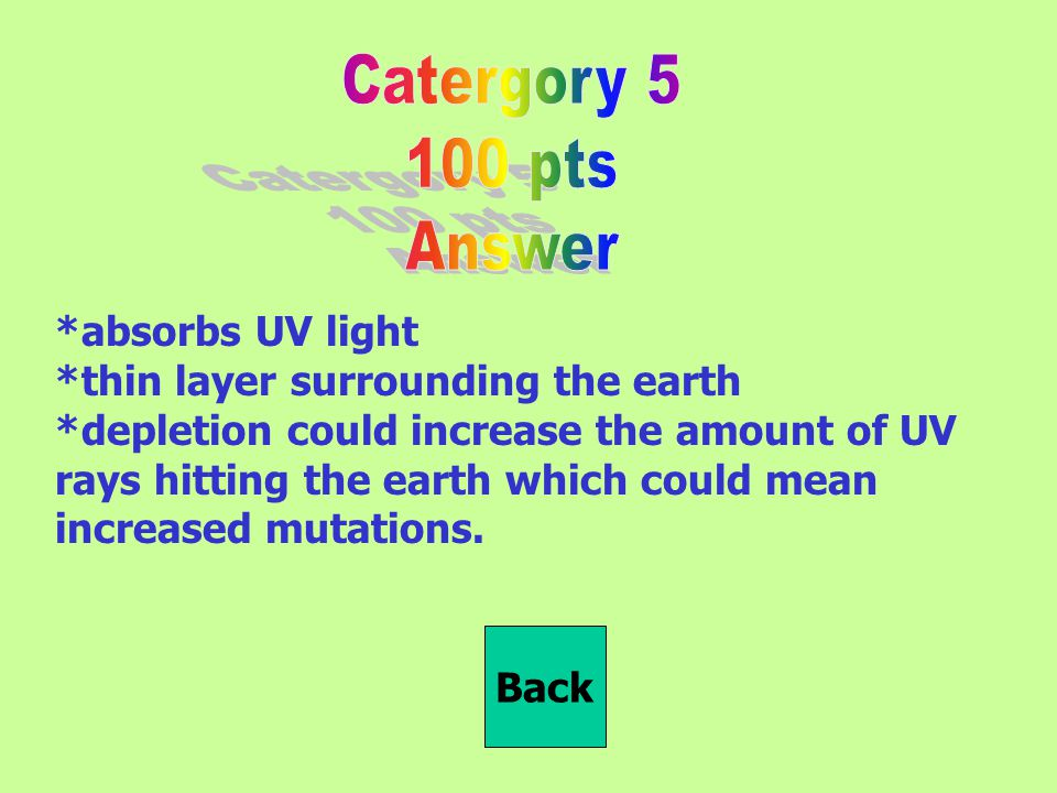 *absorbs UV light *thin layer surrounding the earth *depletion could increase the amount of UV rays hitting the earth which could mean increased mutations.