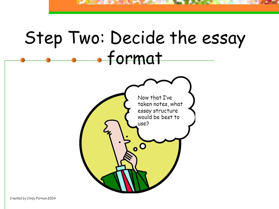 Step Two: Decide the essay format Now that I've taken notes, what essay structure would be best to use.