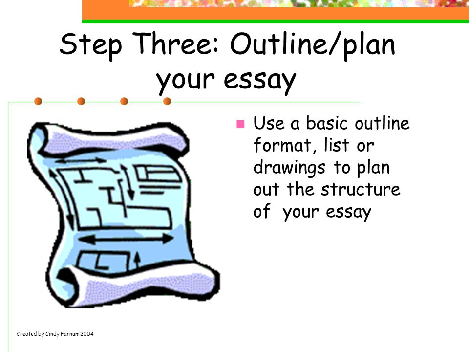 Step Three: Outline/plan your essay Use a basic outline format, list or drawings to plan out the structure of your essay Created by Cindy Farnum 2004