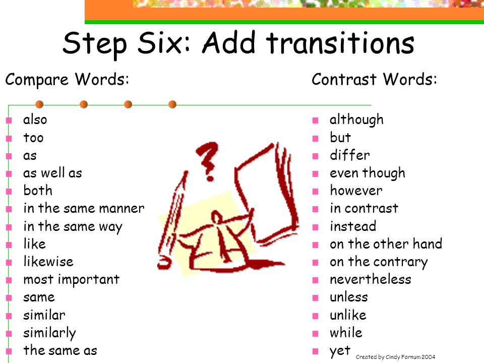 Step Six: Add transitions Contrast Words: although but differ even though however in contrast instead on the other hand on the contrary nevertheless unless unlike while yet Compare Words: also too as as well as both in the same manner in the same way like likewise most important same similar similarly the same as Created by Cindy Farnum 2004