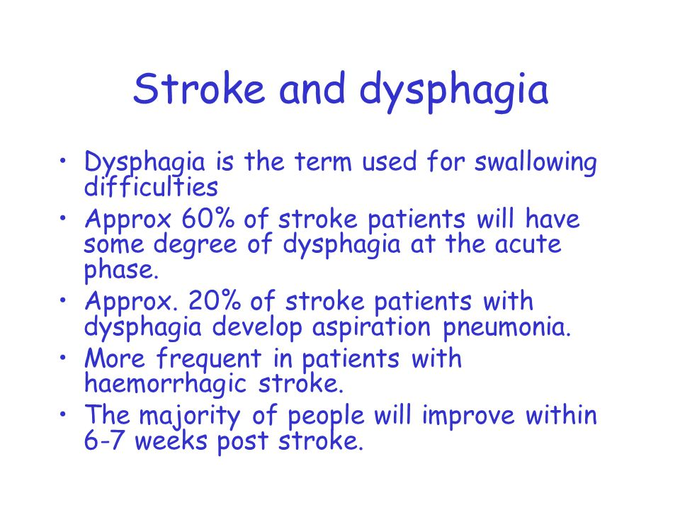 Stroke and dysphagia Dysphagia is the term used for swallowing difficulties Approx 60% of stroke patients will have some degree of dysphagia at the acute phase.