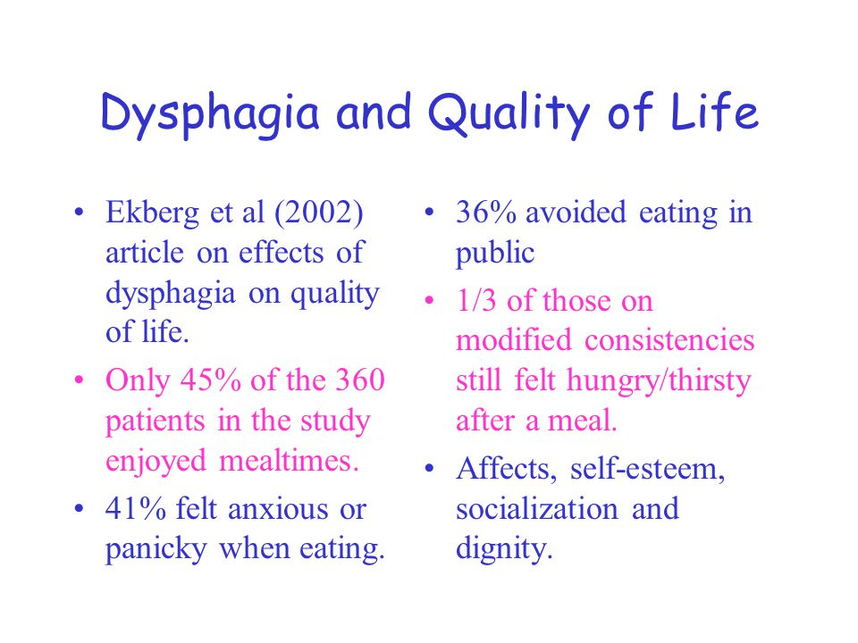 Dysphagia and Quality of Life Ekberg et al (2002) article on effects of dysphagia on quality of life.