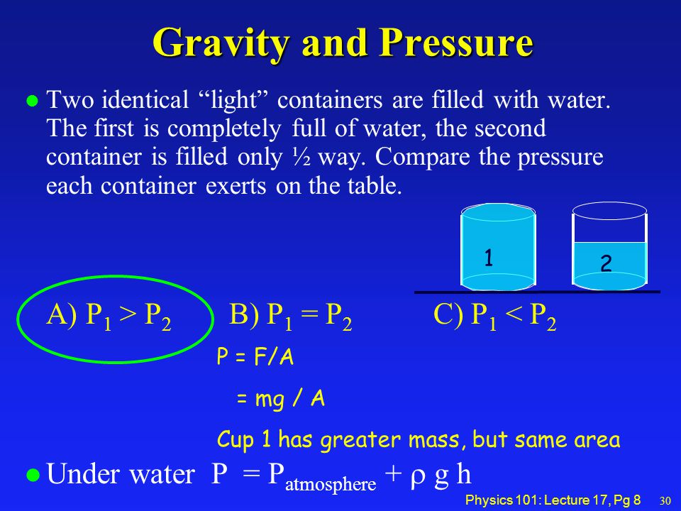 Physics 101: Lecture 17, Pg 8 Gravity and Pressure l Two identical light containers are filled with water.