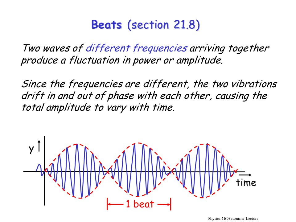 Physics 1B03summer-Lecture 10 Beats (section 21.8) Two waves of different frequencies arriving together produce a fluctuation in power or amplitude.