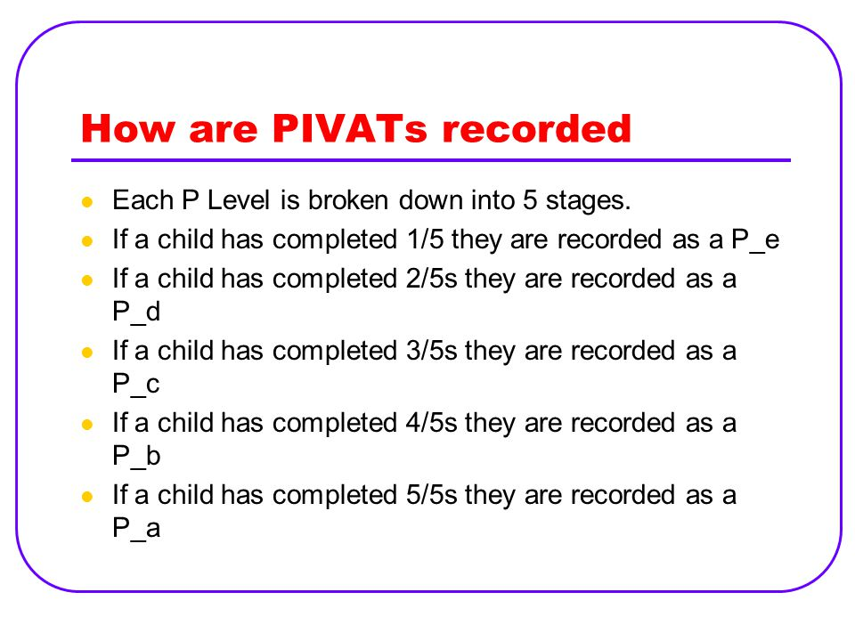 How are PIVATs recorded Each P Level is broken down into 5 stages.