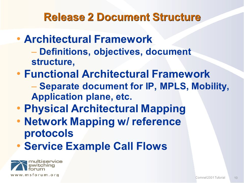 10 Comnet 2001 Tutorial Release 2 Document Structure Architectural Framework – Definitions, objectives, document structure, Functional Architectural Framework – Separate document for IP, MPLS, Mobility, Application plane, etc.