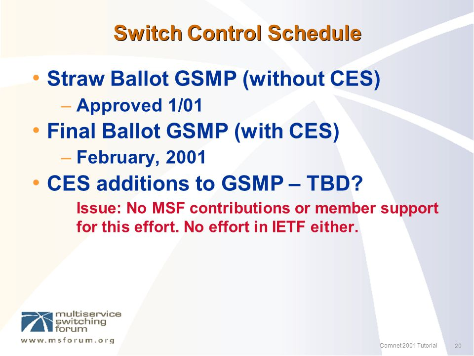 20 Comnet 2001 Tutorial Switch Control Schedule Straw Ballot GSMP (without CES) – Approved 1/01 Final Ballot GSMP (with CES) – February, 2001 CES additions to GSMP – TBD.