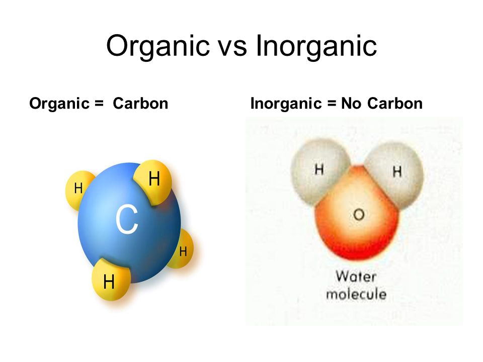 Organic vs Inorganic Organic = CarbonInorganic = No Carbon