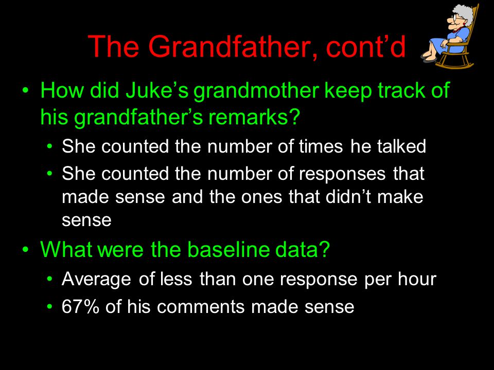 The Grandfather, cont'd How did Juke's grandmother keep track of his grandfather's remarks? She counted the number of times he talked She counted the