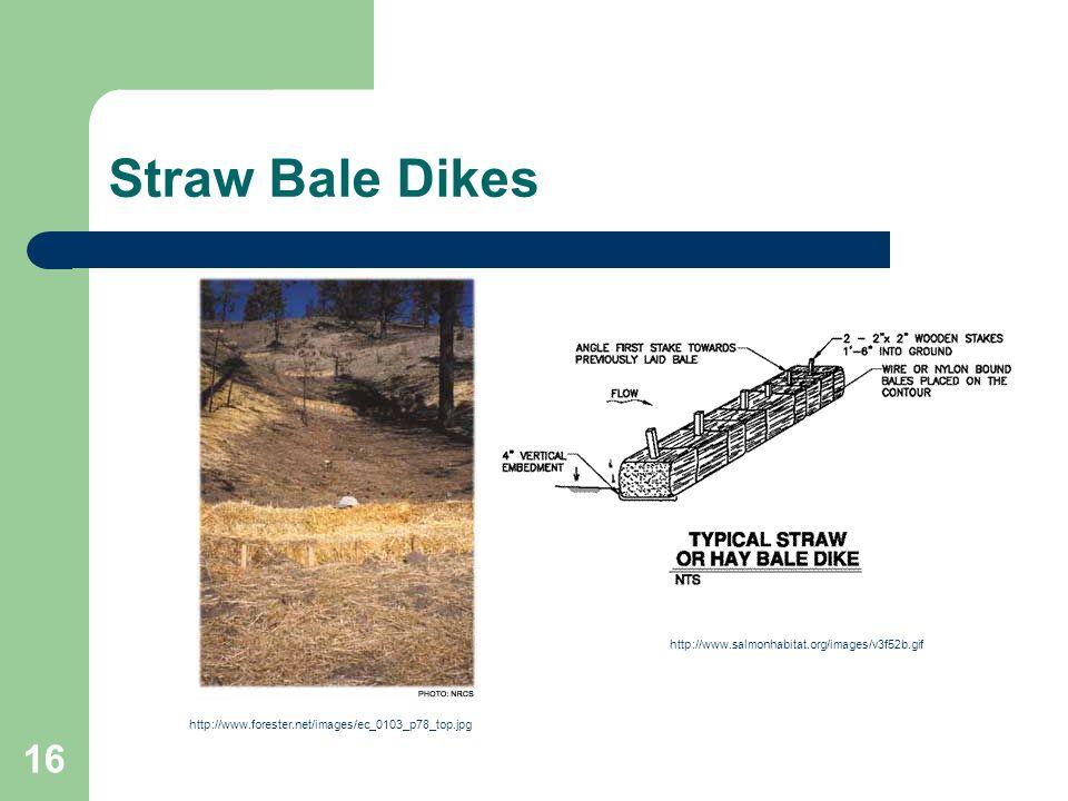 16 Straw Bale Dikes http://www.salmonhabitat.org/images/v3f52b.gif http://www.forester.net/images/ec_0103_p78_top.jpg