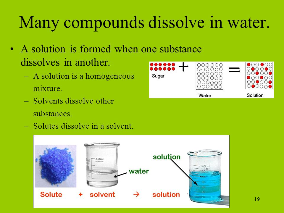 19 Many compounds dissolve in water.A solution is formed when one substance dissolves in another.