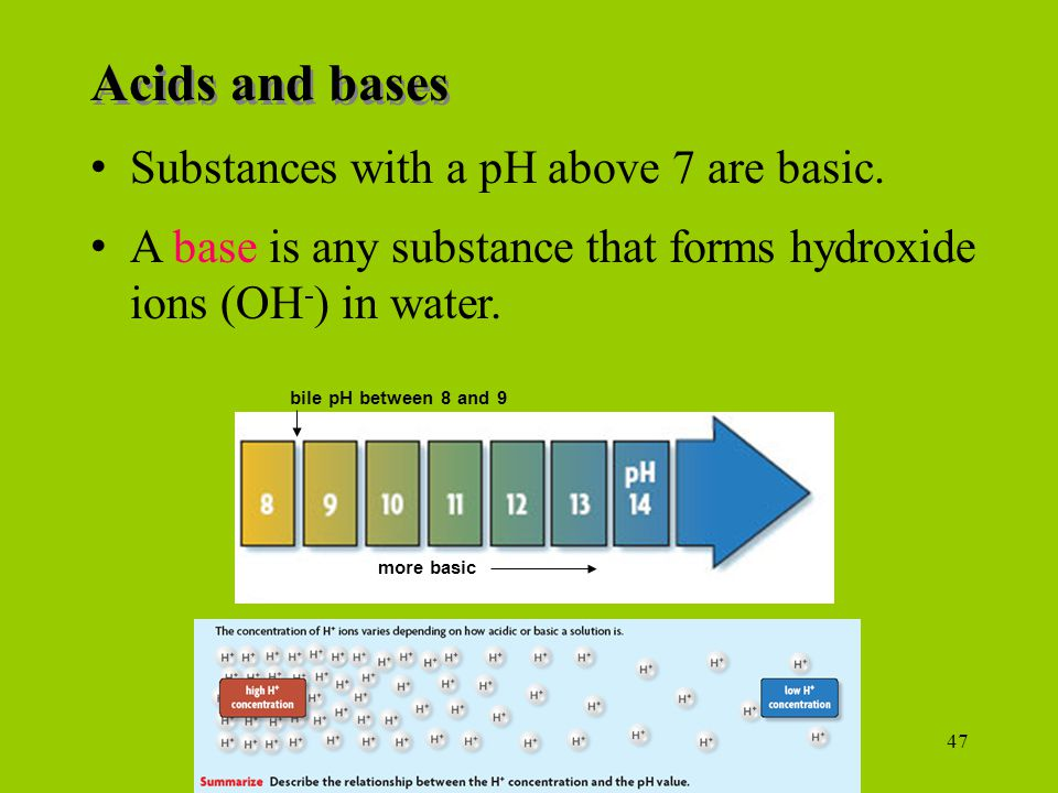 47 Substances with a pH above 7 are basic.