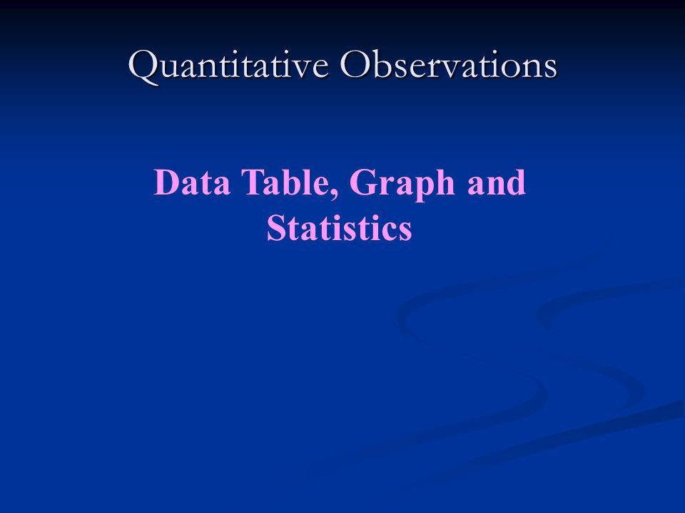 Quantitative Observations Data Table, Graph and Statistics
