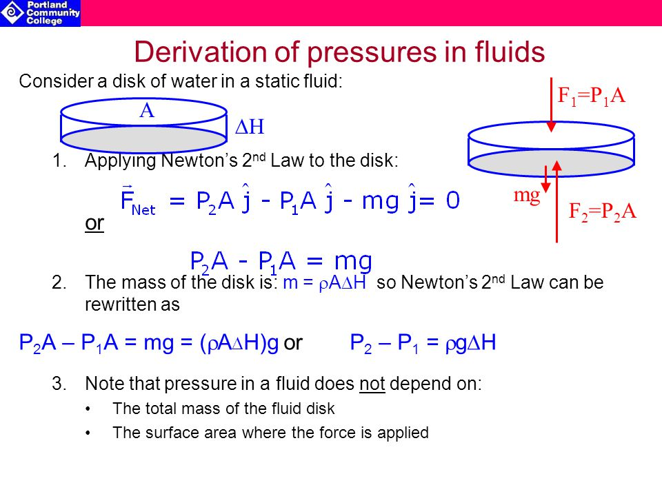 Derivation of pressures in fluids Consider a disk of water in a static fluid: 1.Applying Newton's 2 nd Law to the disk: or 2.The mass of the disk is: m =  A  H so Newton's 2 nd Law can be rewritten as P 2 A – P 1 A = mg = (  A  H)gorP 2 – P 1 =  g  H 3.Note that pressure in a fluid does not depend on: The total mass of the fluid disk The surface area where the force is applied HH A mg F 1 =P 1 A F 2 =P 2 A