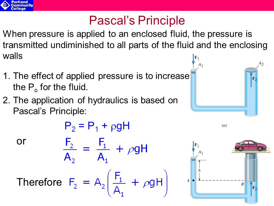 Pascal's Principle When pressure is applied to an enclosed fluid, the pressure is transmitted undiminished to all parts of the fluid and the enclosing walls 1.The effect of applied pressure is to increase the P o for the fluid.