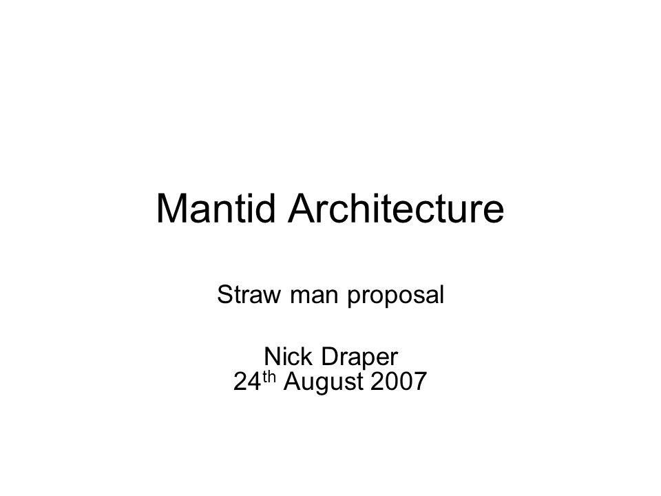 Mantid Architecture Straw man proposal Nick Draper 24 th August 2007