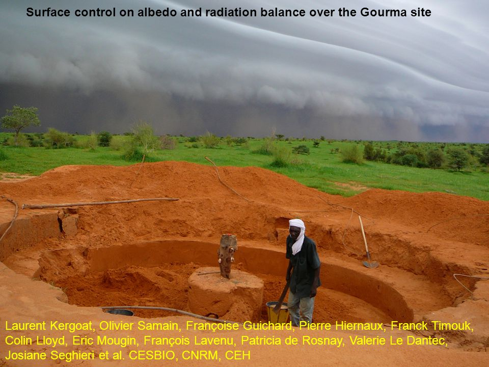 Surface control on albedo and radiation balance over the Gourma site Laurent Kergoat, Olivier Samain, Françoise Guichard, Pierre Hiernaux, Franck Timouk, Colin Lloyd, Eric Mougin, François Lavenu, Patricia de Rosnay, Valerie Le Dantec, Josiane Seghieri et al.