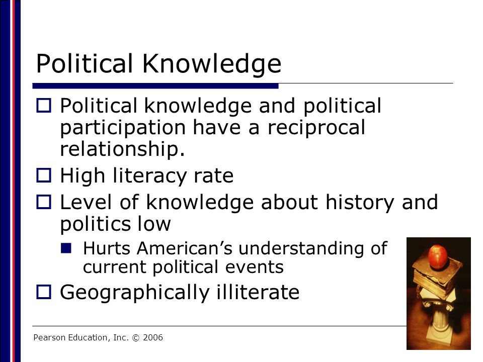 Pearson Education, Inc. © 2006 Political Knowledge  Political knowledge and political participation have a reciprocal relationship.  High literacy r